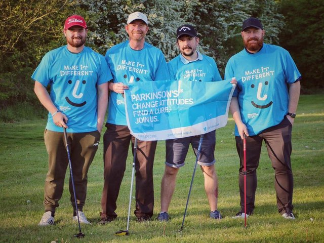 (L-R) Dan Maber, Rich Maber, Matt Avery and Ross Horne played 15 straight hours of golf at Cold Ashby Golf Centre for Parkinson's UK's Par for Parkinson's campaign on June 27, raising more than £1,800