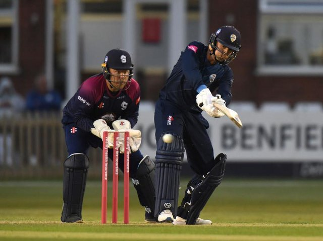 Action from Derbyshire Falcons' T20 win over the Steelbacks in Derby last month
