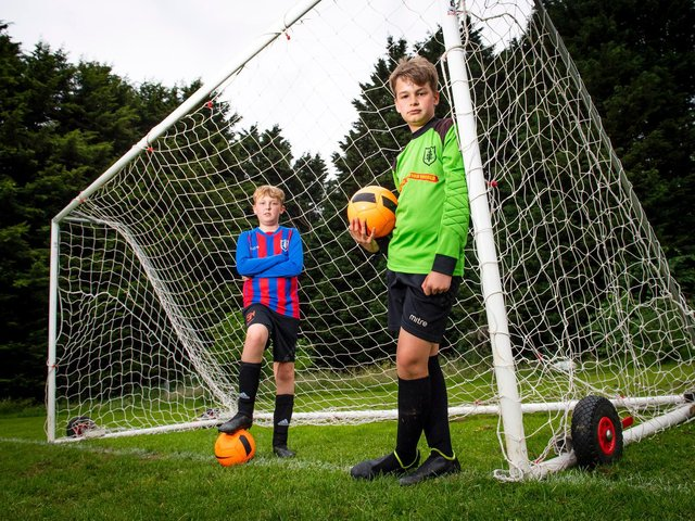Finnley Bullock and Oscar Robbins on the pitch. Picture: Pictures55