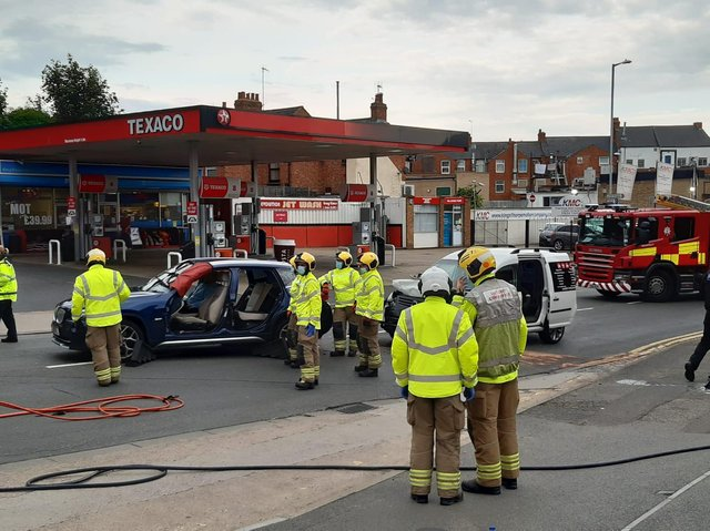 The collision took place next to the Texaco garage on the Welford Road in Kingsthorpe.