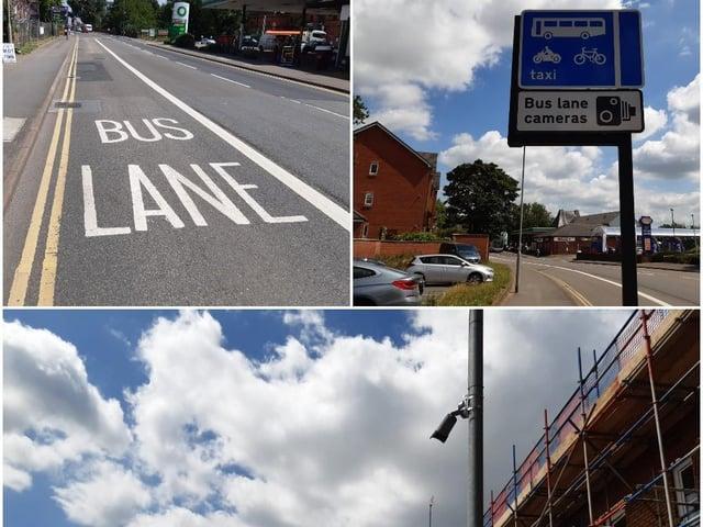 The bus lane in St James' Road opposite Westbridge Garage