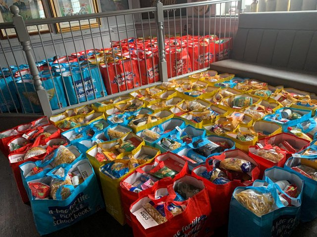 Volunteers packed around 250 bags for families across Northamptonshire.