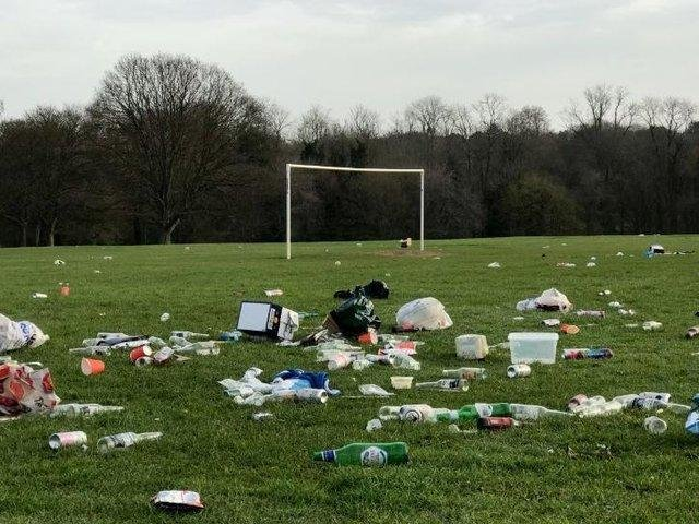 Litter in Abington Park from when lockdown restrictions eased back in March 2021.
