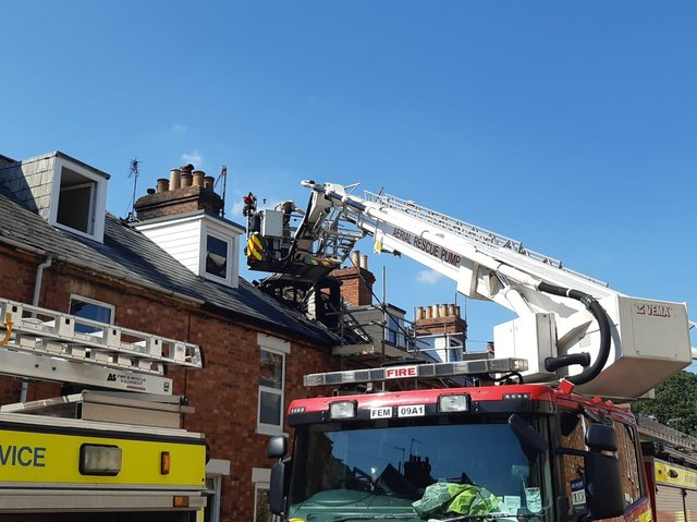 Fire crews at the scene yesterday.