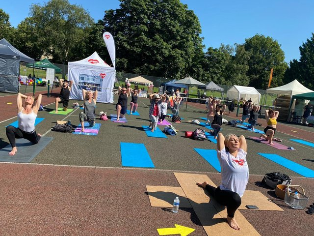 Kristina Rihanoff leads a Soo Yoga session at the Family Wellbeing Fair.